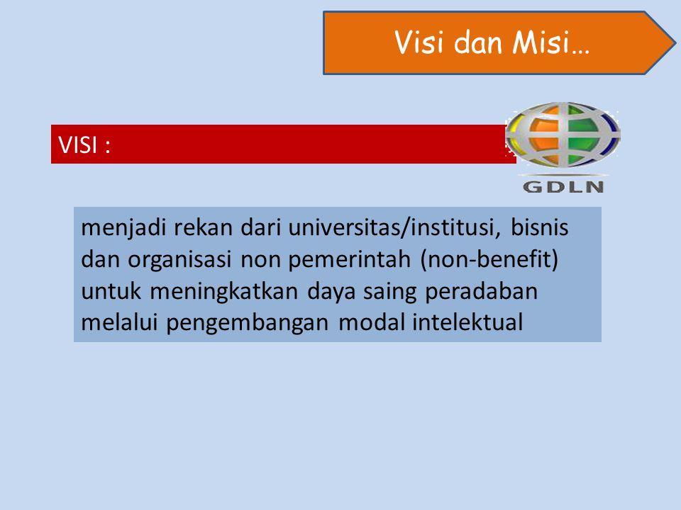Visi dan Misi… VISI : menjadi rekan dari universitas/institusi, bisnis dan organisasi non pemerintah (non-benefit) untuk meningkatkan daya saing peradaban melalui pengembangan modal intelektual