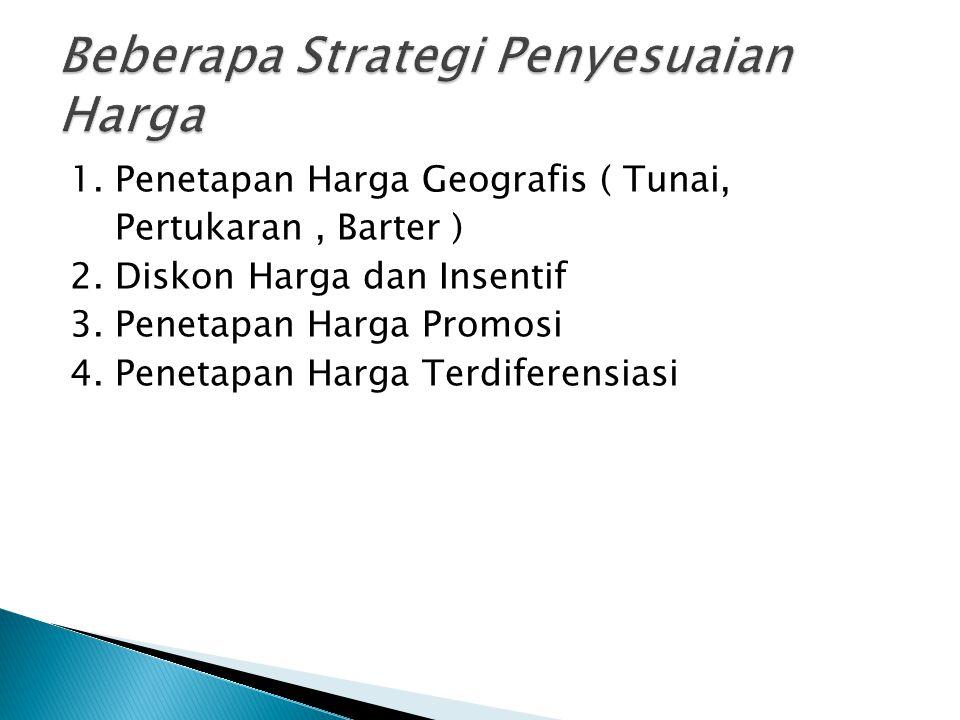 1. Penetapan Harga Geografis ( Tunai, Pertukaran, Barter ) 2. Diskon Harga dan Insentif 3. Penetapan Harga Promosi 4. Penetapan Harga Terdiferensiasi
