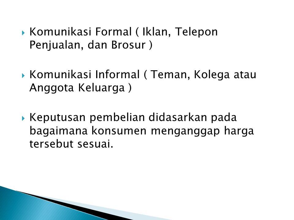  Komunikasi Formal ( Iklan, Telepon Penjualan, dan Brosur )  Komunikasi Informal ( Teman, Kolega atau Anggota Keluarga )  Keputusan pembelian didas