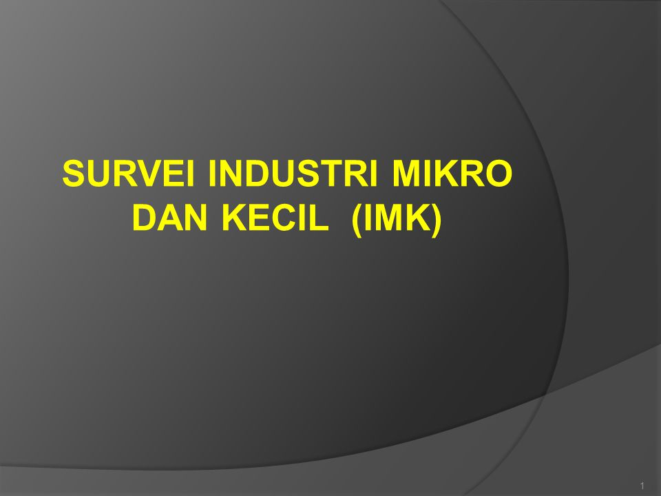 SURVEI INDUSTRI MIKRO DAN KECIL (IMK) 1