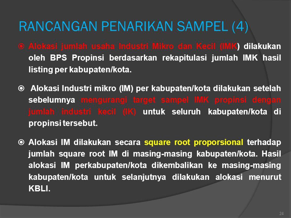 RANCANGAN PENARIKAN SAMPEL (4)  Alokasi jumlah usaha Industri Mikro dan Kecil (IMK) dilakukan oleh BPS Propinsi berdasarkan rekapitulasi jumlah IMK h