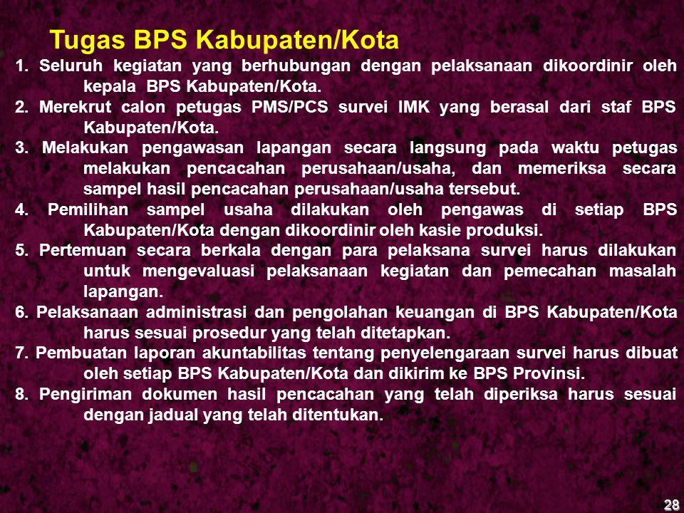 28 Tugas BPS Kabupaten/Kota 1. Seluruh kegiatan yang berhubungan dengan pelaksanaan dikoordinir oleh kepala BPS Kabupaten/Kota. 2. Merekrut calon petu