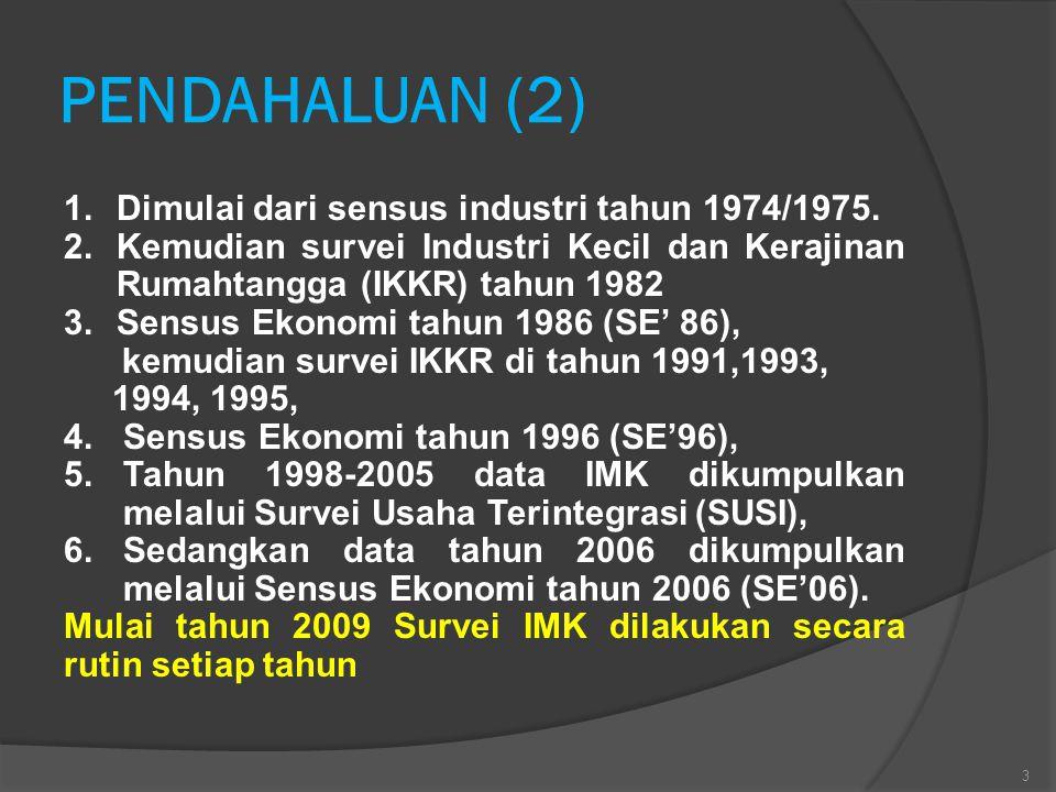 PENDAHALUAN (2) 1.Dimulai dari sensus industri tahun 1974/1975. 2.Kemudian survei Industri Kecil dan Kerajinan Rumahtangga (IKKR) tahun 1982 3.Sensus