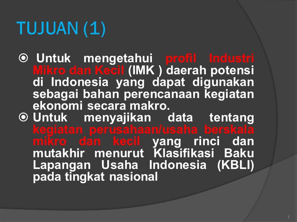 METODOLOGI (2)  Re-stratifikasi ditujukan untuk mengelompokkan unit-unit area (blok sensus) menurut komposisi jumlah relatif usaha Industri Mikro dan Kecil (IMK) menurut jenis Klasifikasi Baku Lapangan Usaha Indonesia (KBLI).