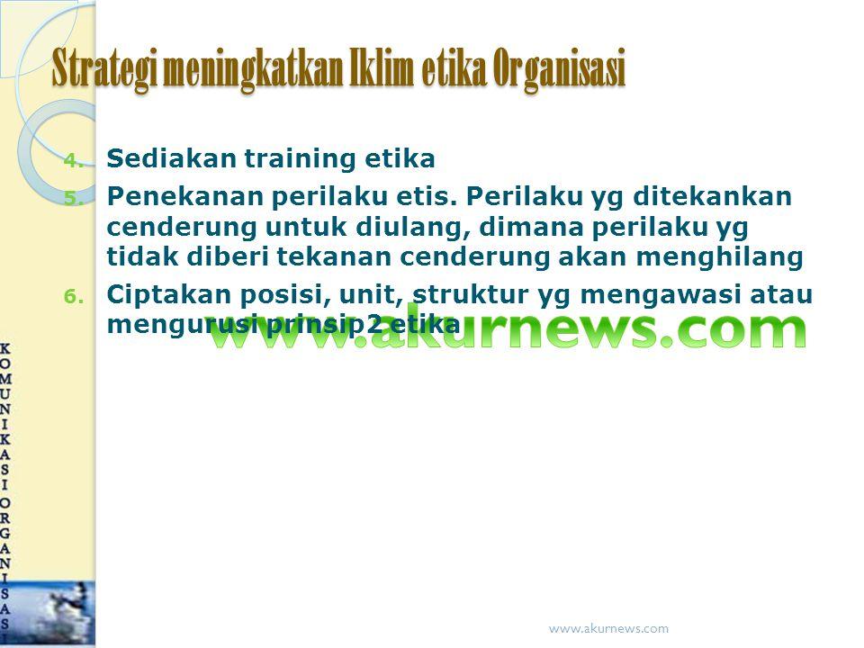Strategi meningkatkan Iklim etika Organisasi 4.Sediakan training etika 5.