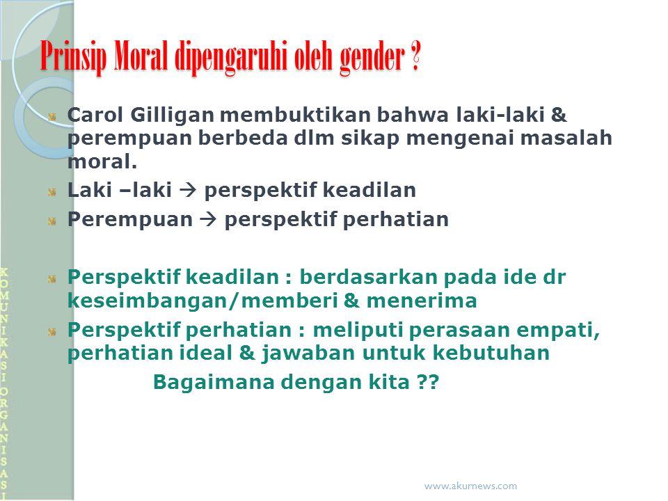 Prinsip Moral dipengaruhi oleh gender ? Carol Gilligan membuktikan bahwa laki-laki & perempuan berbeda dlm sikap mengenai masalah moral. Laki –laki 