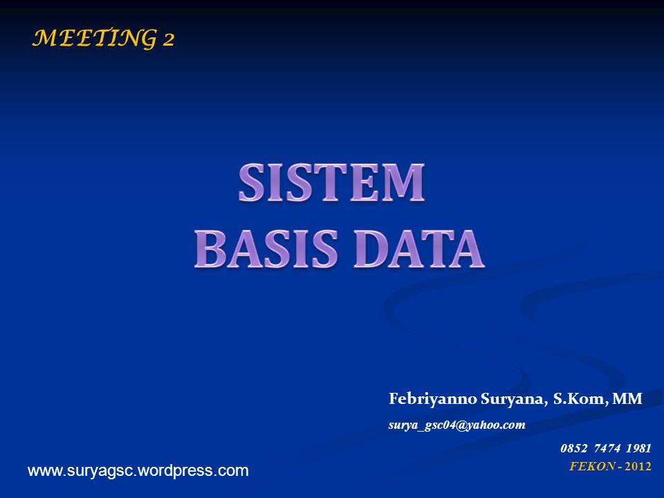 Merupakan bahasa yang digunakan oleh user untuk berkomunikasi/berinteraksi dengan DBMS yang bersangkutan Contoh Bahasa basis data : SQL, dBase, Quel Basis data dipilah dalam 2 bentuk, - Data Definition Language (DDL) - Data Manipulation Language (DML) 32