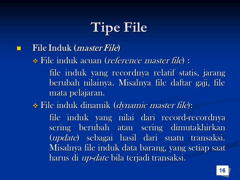 Tipe File File Induk (master File) File Induk (master File)  File induk acuan (reference master file) : file induk yang recordnya relatif statis, jar