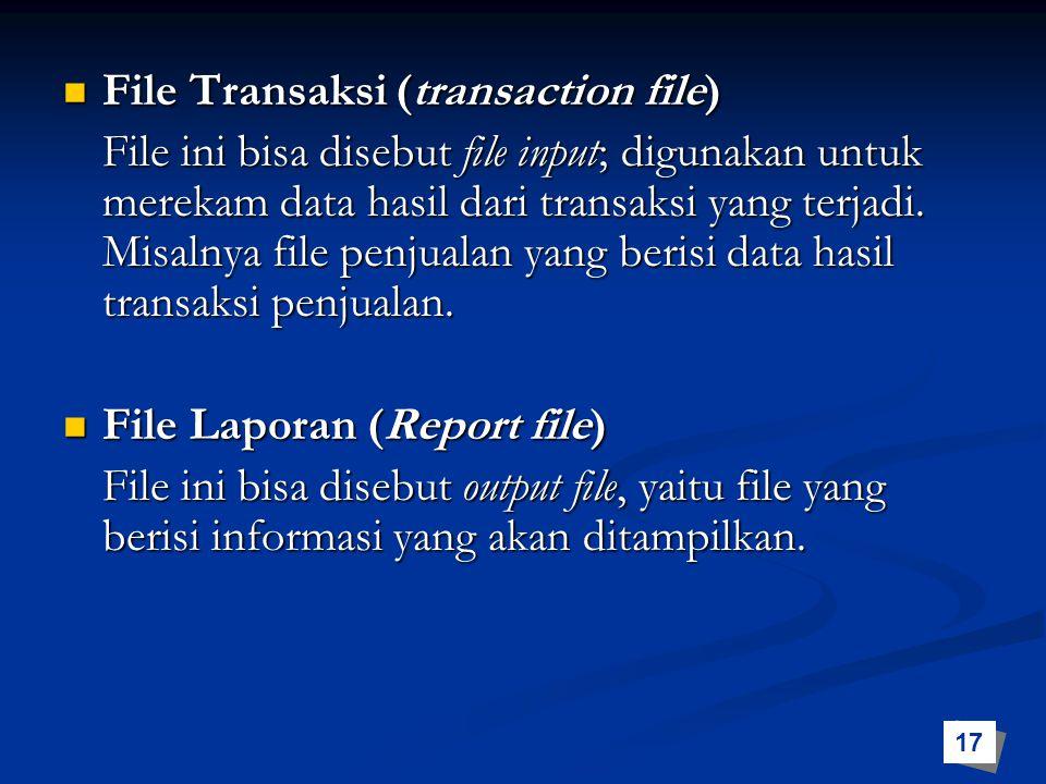 File Transaksi (transaction file) File Transaksi (transaction file) File ini bisa disebut file input; digunakan untuk merekam data hasil dari transaks