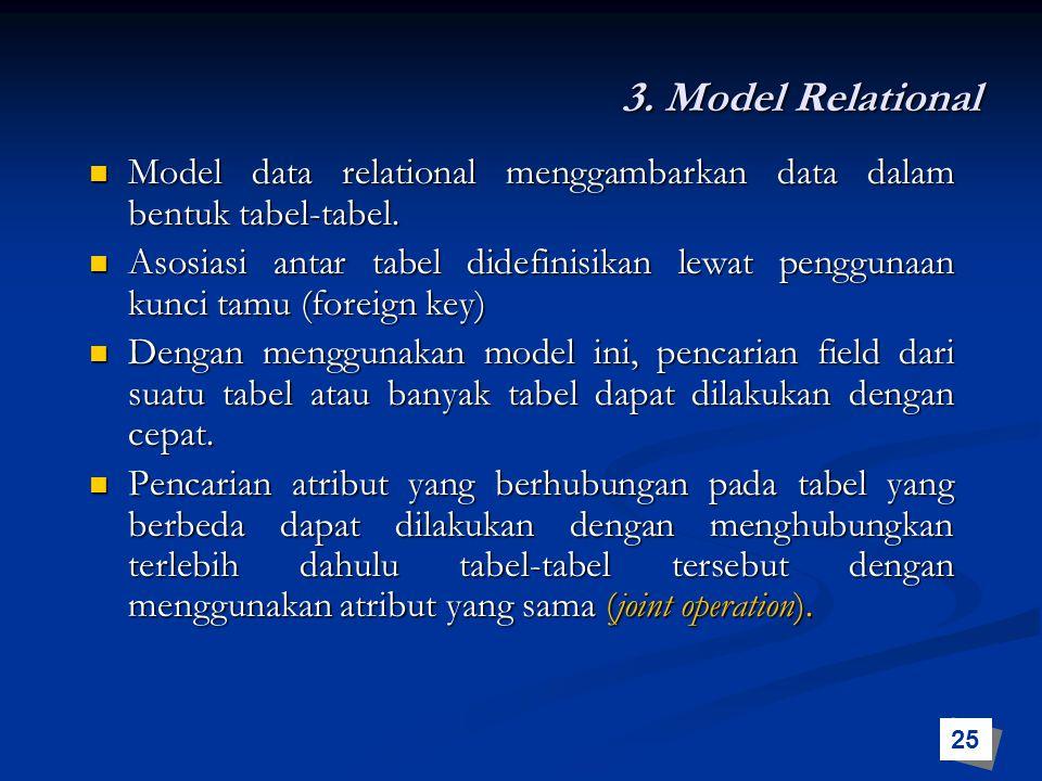 3. Model Relational Model data relational menggambarkan data dalam bentuk tabel-tabel. Model data relational menggambarkan data dalam bentuk tabel-tab