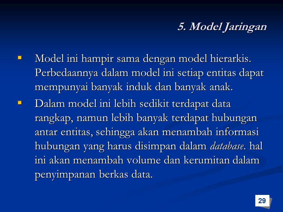 5. Model Jaringan  Model ini hampir sama dengan model hierarkis. Perbedaannya dalam model ini setiap entitas dapat mempunyai banyak induk dan banyak