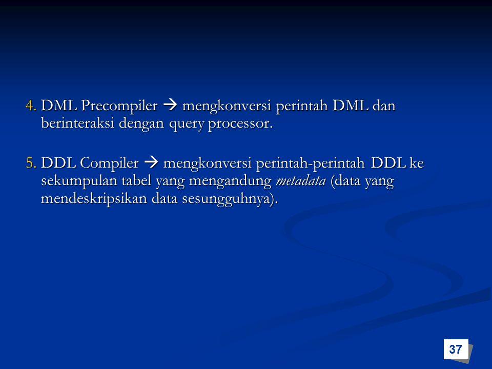 4. DML Precompiler  mengkonversi perintah DML dan berinteraksi dengan query processor. 5. DDL Compiler  mengkonversi perintah-perintah DDL ke sekump