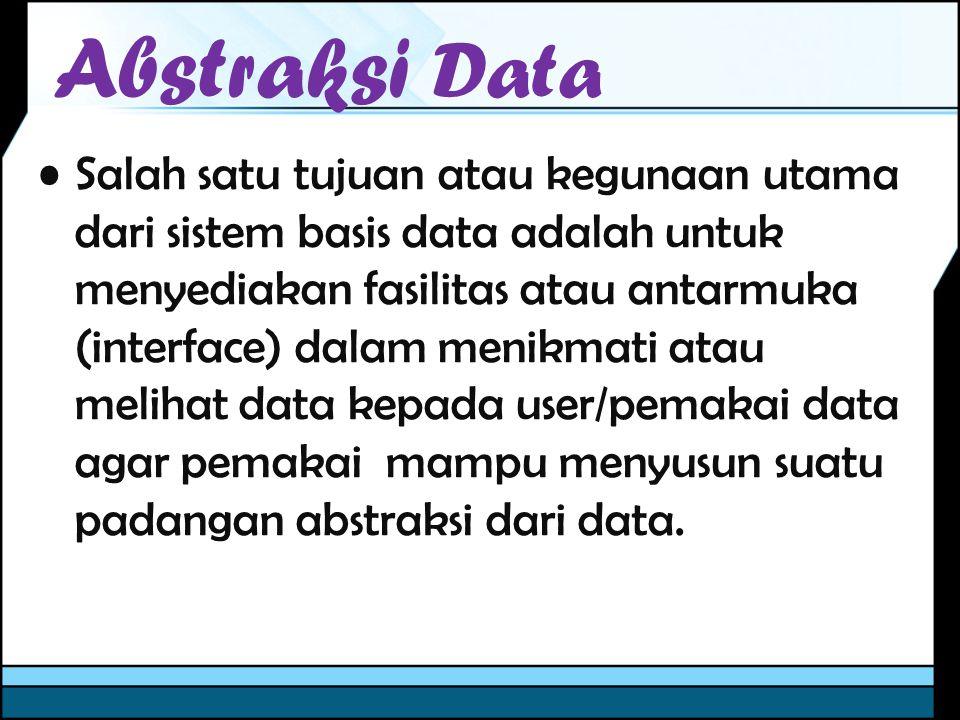 Abstrasi Data Suatu basis data dapat dipandang dari dua sudut pandang, yaitu :Suatu basis data dapat dipandang dari dua sudut pandang, yaitu : –Pemakai (User View) sesebagai orang yang mengakses/ menggunakan basis data, baik secara bersamaan maupun secara individu dalam lingkungan sistem –Perancang Sedangkan perancang adalah mereka yang berperan sebagai perancang dan pengelola basis data.