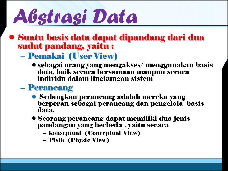 Abstraksi Data User View 1User View 2User View n Conseptual View Physical View …… Level Eksternal Level Konseptual Level Internal Abstraksi data merupakan tingkatan atau level dalam bagaimana pemakai melihat data dalam sebuah basis data
