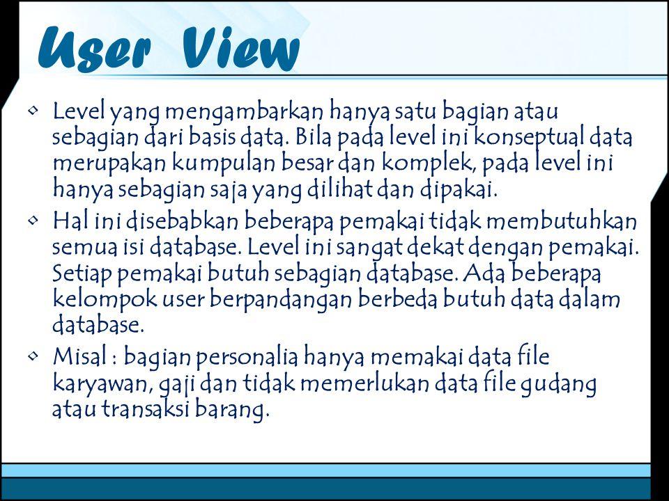 User View Level yang mengambarkan hanya satu bagian atau sebagian dari basis data. Bila pada level ini konseptual data merupakan kumpulan besar dan ko