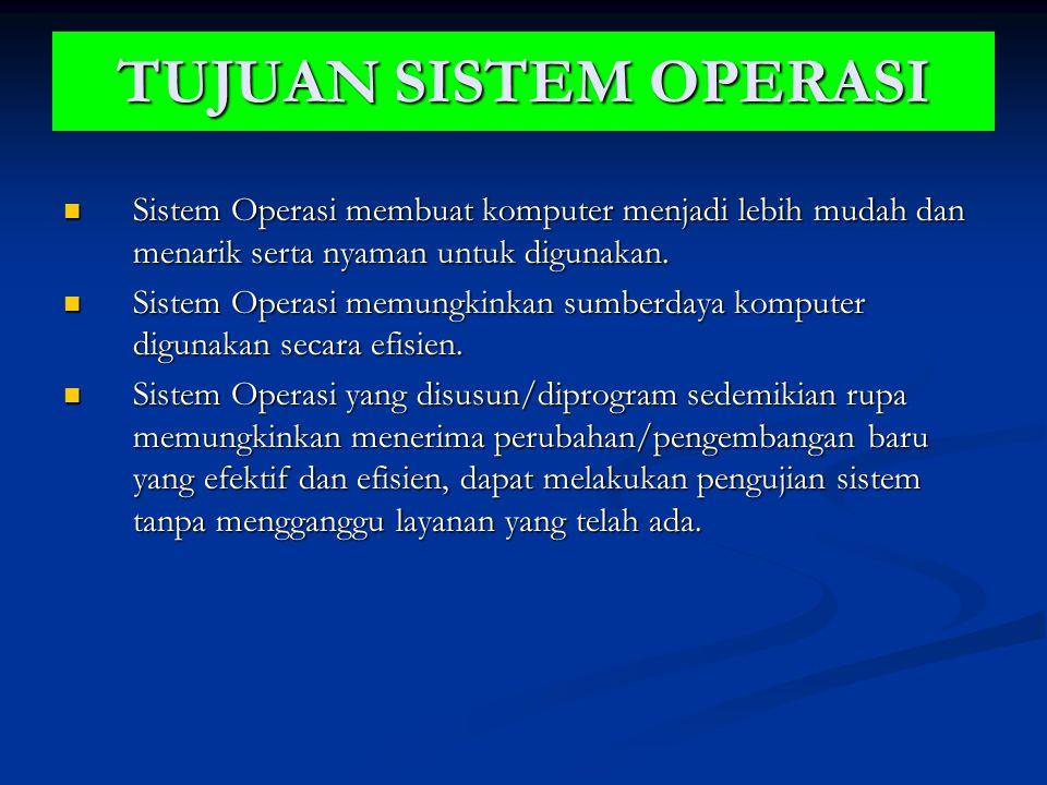 TUJUAN SISTEM OPERASI Sistem Operasi membuat komputer menjadi lebih mudah dan menarik serta nyaman untuk digunakan. Sistem Operasi membuat komputer me