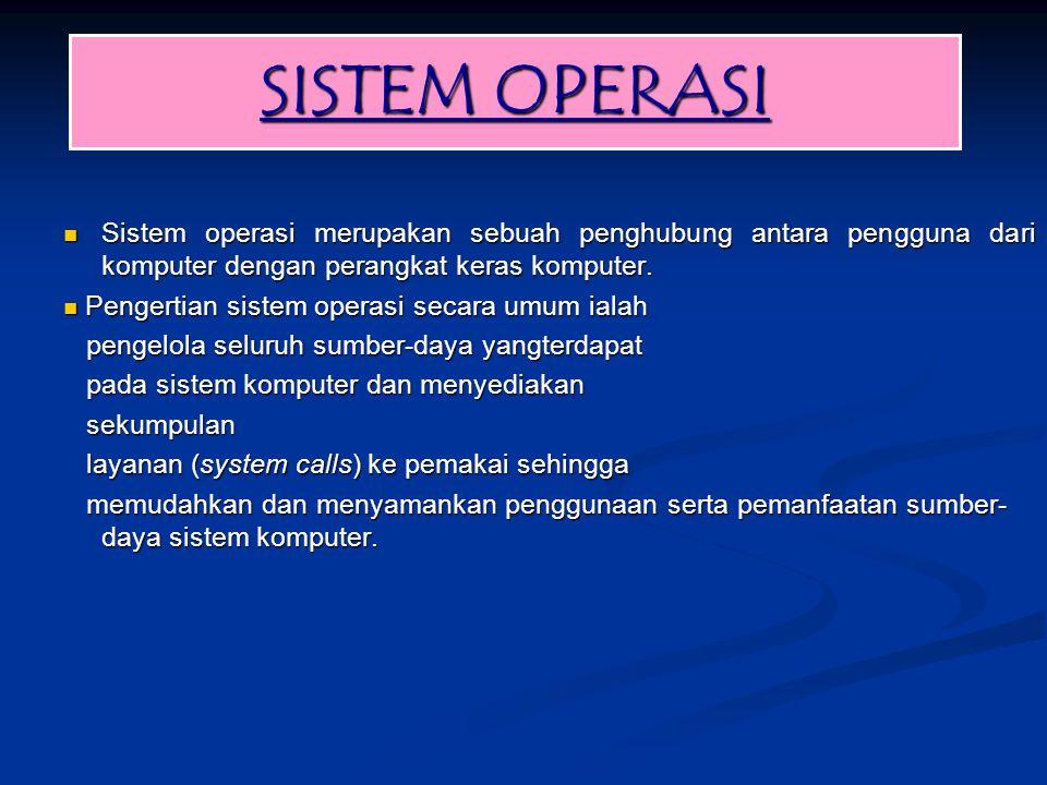 SISTEM OPERASI Sistem operasi merupakan sebuah penghubung antara pengguna dari komputer dengan perangkat keras komputer. Sistem operasi merupakan sebu