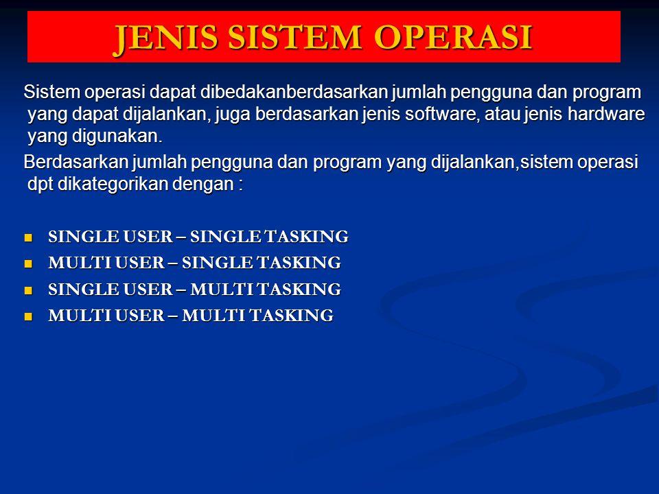 JENIS SISTEM OPERASI Sistem operasi dapat dibedakanberdasarkan jumlah pengguna dan program yang dapat dijalankan, juga berdasarkan jenis software, ata