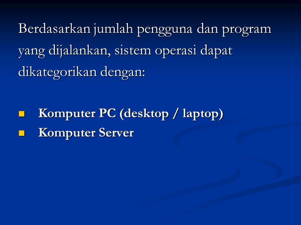 Berdasarkan jumlah pengguna dan program yang dijalankan, sistem operasi dapat dikategorikan dengan: Komputer PC (desktop / laptop) Komputer PC (deskto
