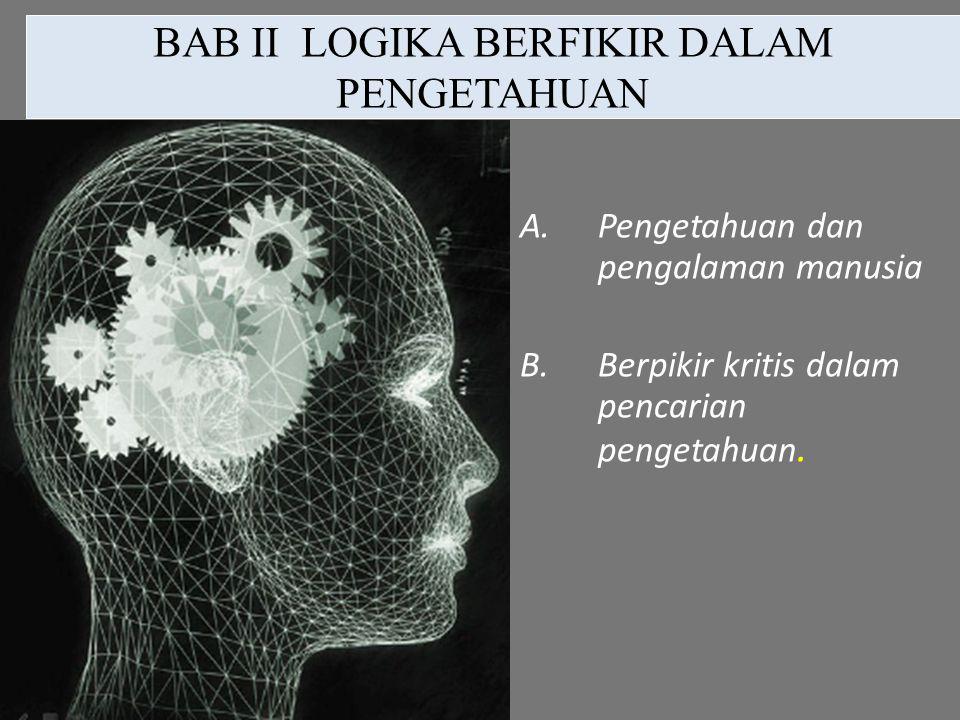 BAB II LOGIKA BERFIKIR DALAM PENGETAHUAN A.Pengetahuan dan pengalaman manusia B.Berpikir kritis dalam pencarian pengetahuan.