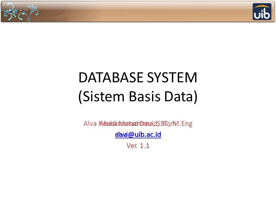 DATABASE SYSTEM (Sistem Basis Data) Alva Hendi Muhammad, ST., M.Eng alva@uib.ac.id Ver. 1.1 Muhammad Davi, S.Kom davi@uib.ac.id Ver. 1.1