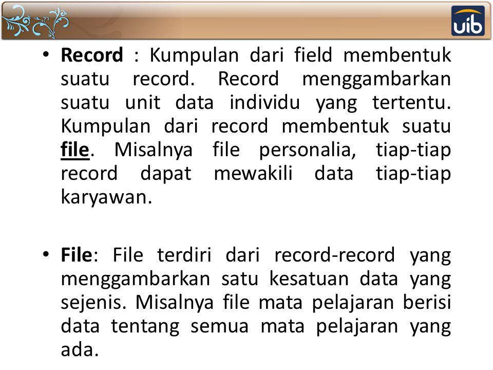 Record : Kumpulan dari field membentuk suatu record. Record menggambarkan suatu unit data individu yang tertentu. Kumpulan dari record membentuk suatu