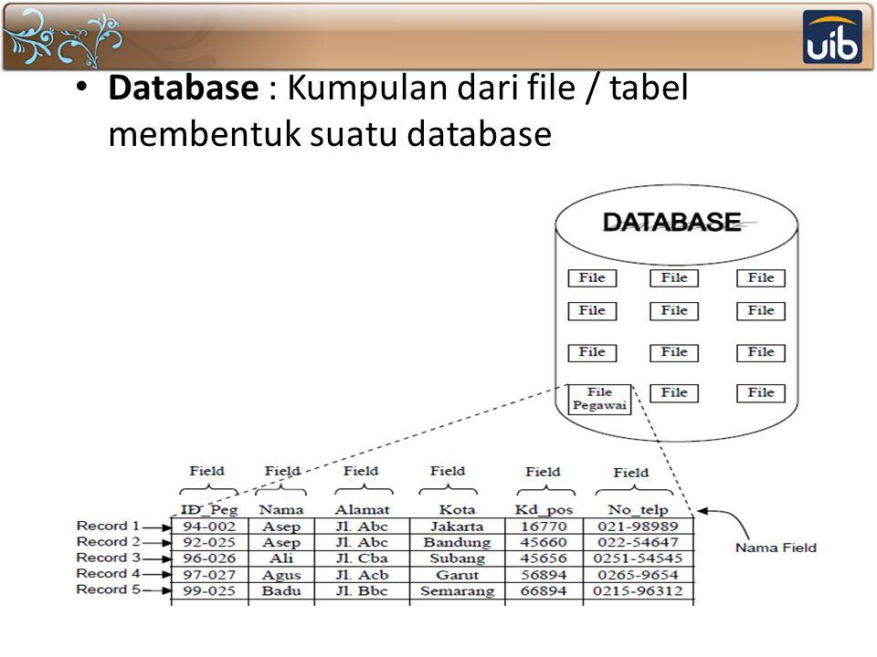 Database : Kumpulan dari file / tabel membentuk suatu database