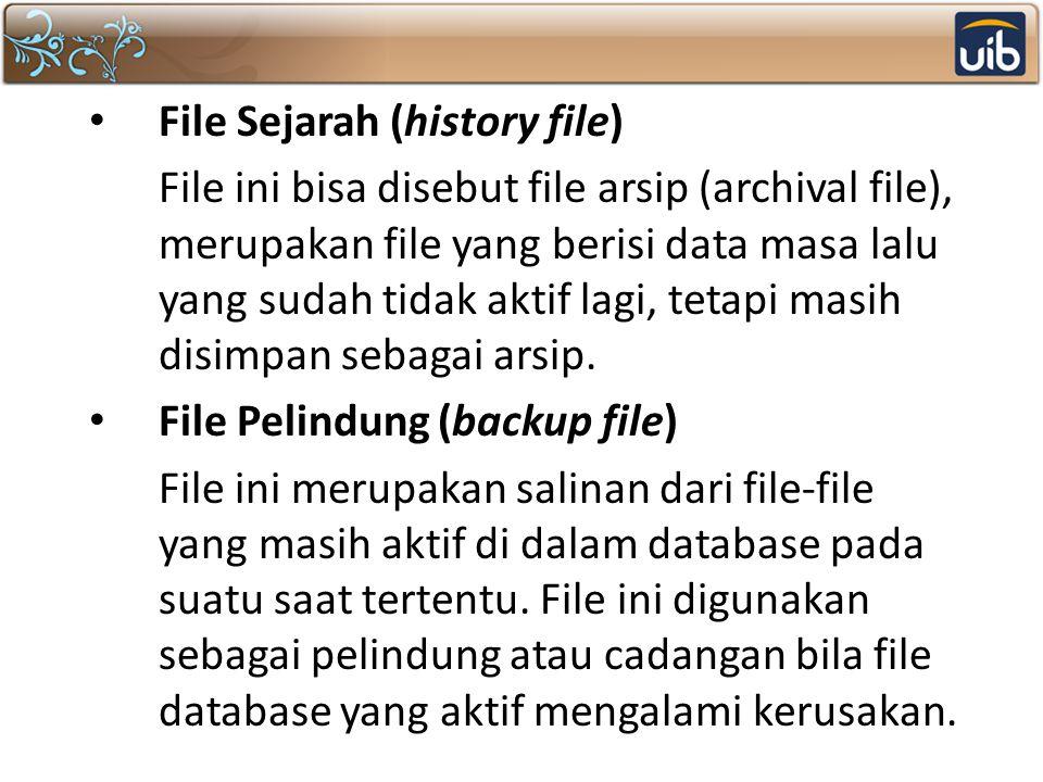 File Sejarah (history file) File ini bisa disebut file arsip (archival file), merupakan file yang berisi data masa lalu yang sudah tidak aktif lagi, t