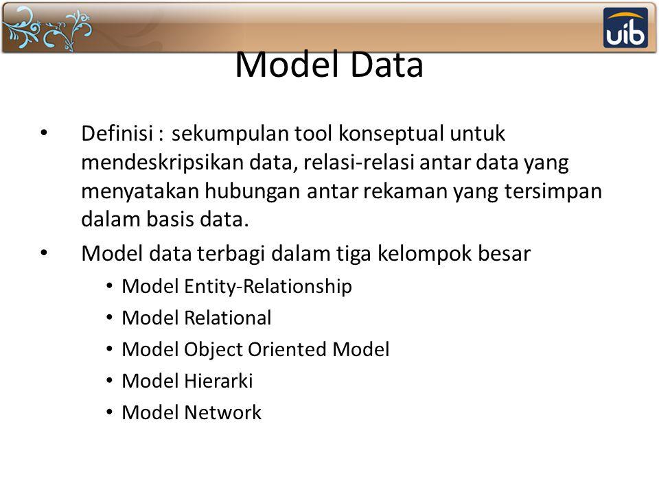 Model Data Definisi :sekumpulan tool konseptual untuk mendeskripsikan data, relasi-relasi antar data yang menyatakan hubungan antar rekaman yang tersi