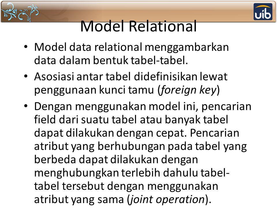 Model Relational Model data relational menggambarkan data dalam bentuk tabel-tabel. Asosiasi antar tabel didefinisikan lewat penggunaan kunci tamu (fo