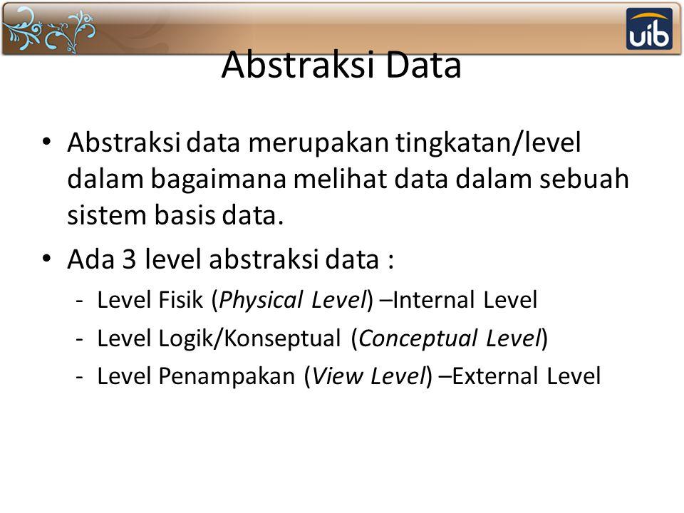 Abstraksi Data Abstraksi data merupakan tingkatan/level dalam bagaimana melihat data dalam sebuah sistem basis data. Ada 3 level abstraksi data : -Lev