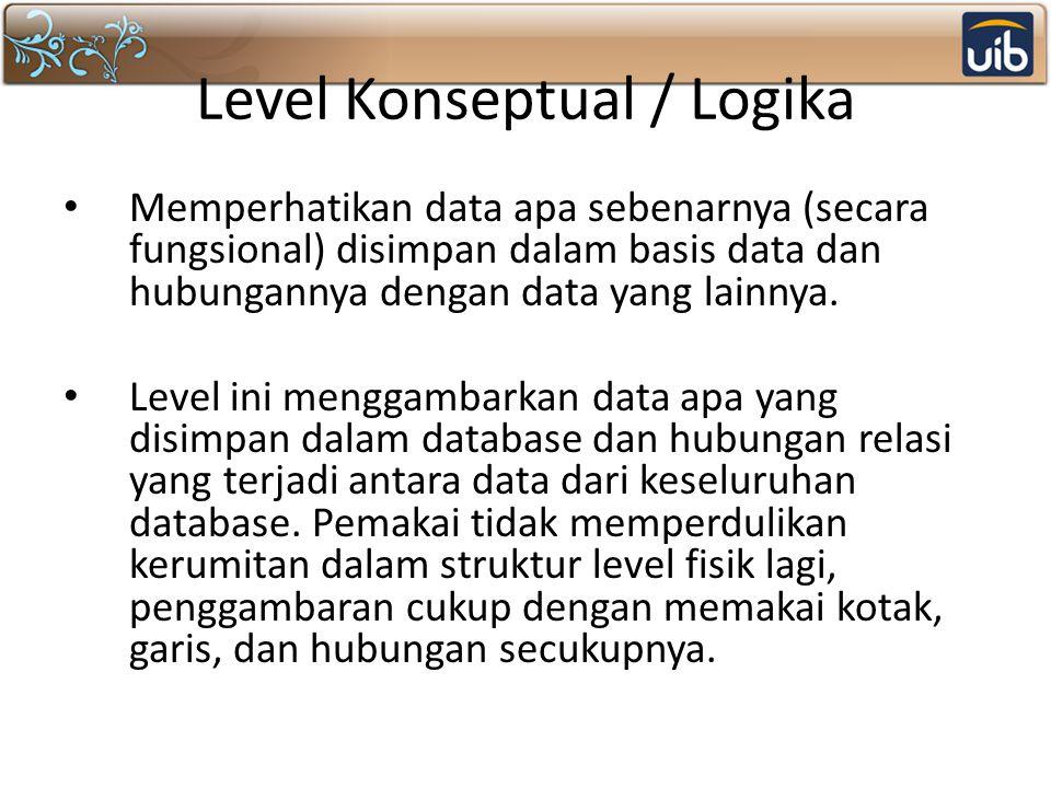 Level Konseptual / Logika Memperhatikan data apa sebenarnya (secara fungsional) disimpan dalam basis data dan hubungannya dengan data yang lainnya. Le