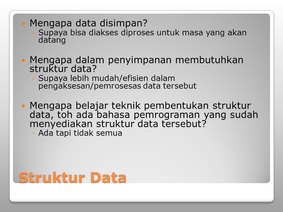 Struktur Data Mengapa data disimpan? ◦Supaya bisa diakses diproses untuk masa yang akan datang Mengapa dalam penyimpanan membutuhkan struktur data? ◦S