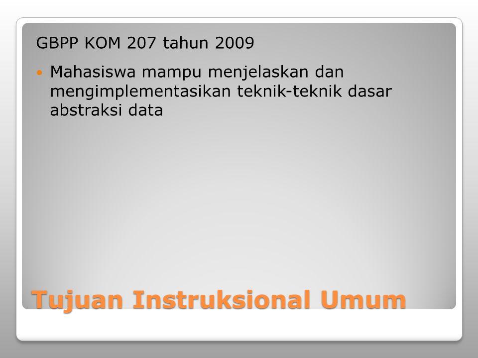 Tujuan Instruksional Umum GBPP KOM 207 tahun 2009 Mahasiswa mampu menjelaskan dan mengimplementasikan teknik-teknik dasar abstraksi data