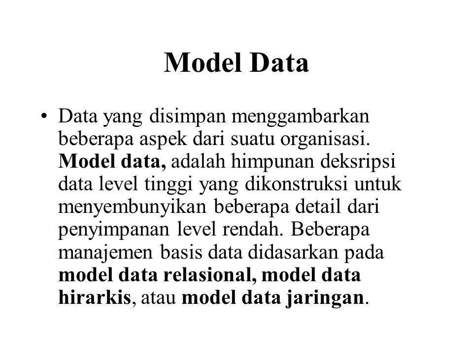 Model Data Data yang disimpan menggambarkan beberapa aspek dari suatu organisasi. Model data, adalah himpunan deksripsi data level tinggi yang dikonst