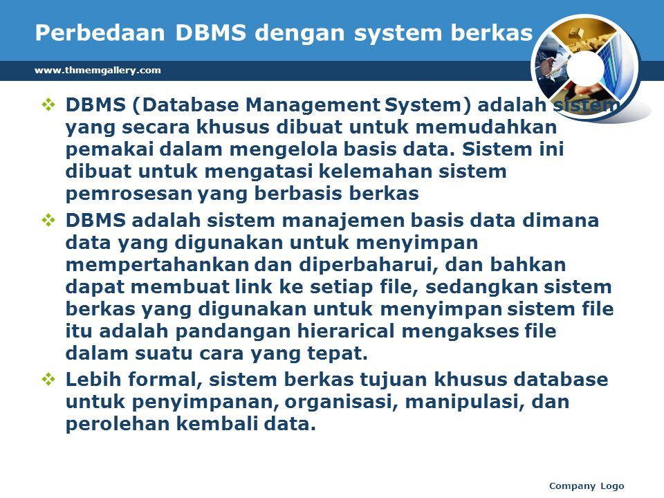Perbedaan DBMS dengan system berkas  DBMS (Database Management System) adalah sistem yang secara khusus dibuat untuk memudahkan pemakai dalam mengelola basis data.