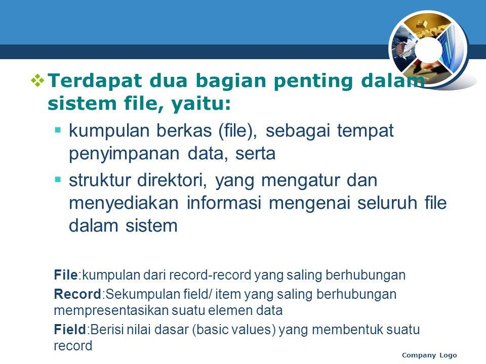 Terdapat dua bagian penting dalam sistem file, yaitu:  kumpulan berkas (file), sebagai tempat penyimpanan data, serta  struktur direktori, yang mengatur dan menyediakan informasi mengenai seluruh file dalam sistem File:kumpulan dari record-record yang saling berhubungan Record:Sekumpulan field/ item yang saling berhubungan mempresentasikan suatu elemen data Field:Berisi nilai dasar (basic values) yang membentuk suatu record Company Logo