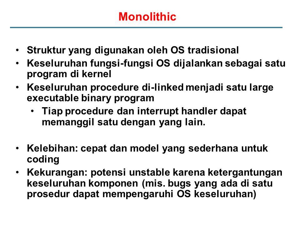 Monolithic Struktur yang digunakan oleh OS tradisional Keseluruhan fungsi-fungsi OS dijalankan sebagai satu program di kernel Keseluruhan procedure di-linked menjadi satu large executable binary program Tiap procedure dan interrupt handler dapat memanggil satu dengan yang lain.
