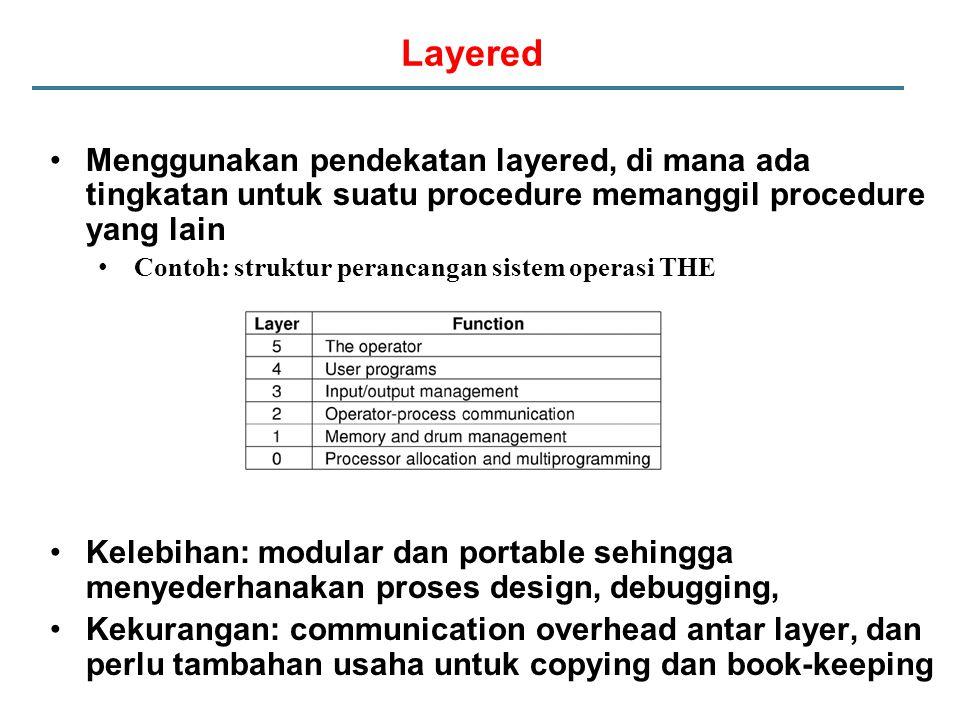 Layered Menggunakan pendekatan layered, di mana ada tingkatan untuk suatu procedure memanggil procedure yang lain Contoh: struktur perancangan sistem
