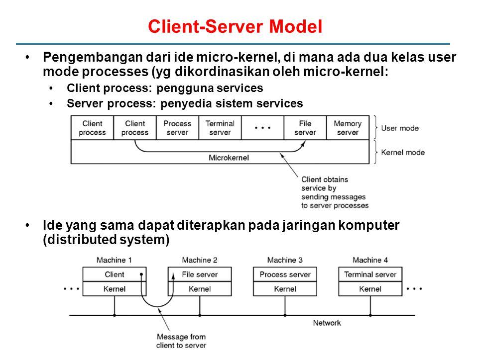 Client-Server Model Pengembangan dari ide micro-kernel, di mana ada dua kelas user mode processes (yg dikordinasikan oleh micro-kernel: Client process: pengguna services Server process: penyedia sistem services Ide yang sama dapat diterapkan pada jaringan komputer (distributed system)