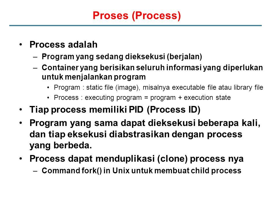 Proses (Process) Process adalah –Program yang sedang dieksekusi (berjalan) –Container yang berisikan seluruh informasi yang diperlukan untuk menjalankan program Program : static file (image), misalnya executable file atau library file Process : executing program = program + execution state Tiap process memiliki PID (Process ID) Program yang sama dapat dieksekusi beberapa kali, dan tiap eksekusi diabstrasikan dengan process yang berbeda.