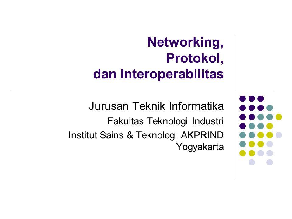 Networking Sekumpulan komputer yang terhubung melalui suatu media tertentu Network biasanya muncul dari kebutuhan pada lingkup terbatas, kemudian meluas Relatif homogen, karena biasanya dimulai dari kebutuhan yang sejenis pula Misal: penggunaan hardware PC dari jenis yang sama