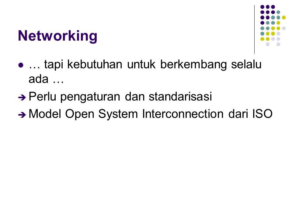 Internetworking Menghubungkan antar network Mulai muncul heterogenitas Media: kabel koaksial, kabel fiber, udara Hardware dan sistem operasi Interface: Ethernet, FDDI, PPP, ISDN, … èPerlu seperangkat aturan untuk menjamin komunikasi antar elemen network  protokol èTCP/IP sebagai protokol standar defacto