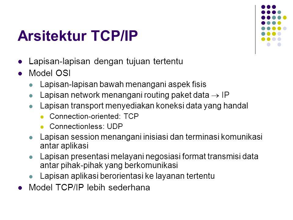 Arsitektur TCP/IP Lapisan-lapisan dengan tujuan tertentu Model OSI Lapisan-lapisan bawah menangani aspek fisis Lapisan network menangani routing paket