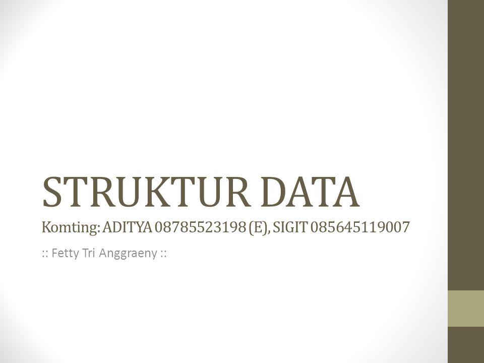 STRUKTUR DATA Komting: ADITYA 08785523198 (E), SIGIT 085645119007 :: Fetty Tri Anggraeny ::