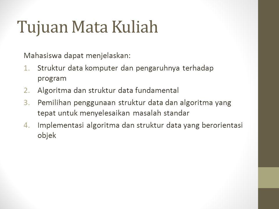 Tujuan Mata Kuliah Mahasiswa dapat menjelaskan: 1.Struktur data komputer dan pengaruhnya terhadap program 2.Algoritma dan struktur data fundamental 3.