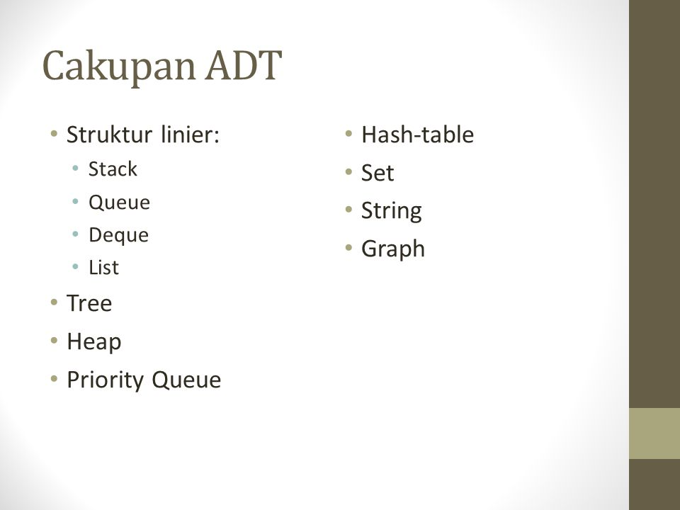 Cakupan ADT Struktur linier: Stack Queue Deque List Tree Heap Priority Queue Hash-table Set String Graph