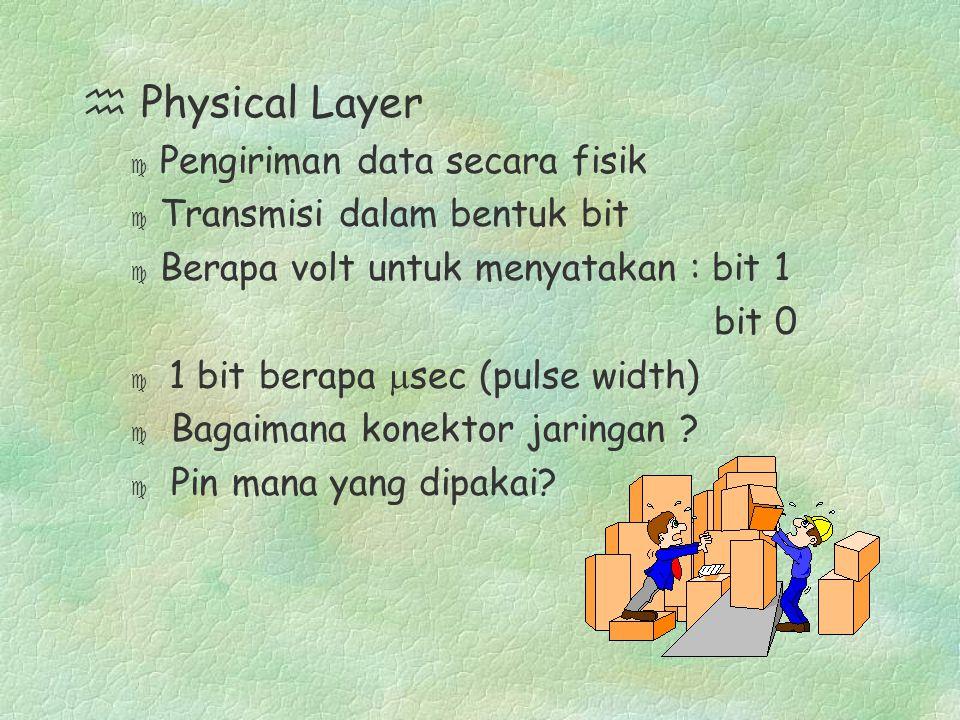 h Physical Layer c Pengiriman data secara fisik c Transmisi dalam bentuk bit c Berapa volt untuk menyatakan : bit 1 bit 0  1 bit berapa  sec (pulse width) c Bagaimana konektor jaringan .