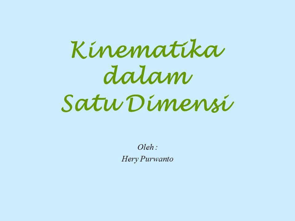 Kinematika dalam Satu Dimensi Oleh : Hery Purwanto