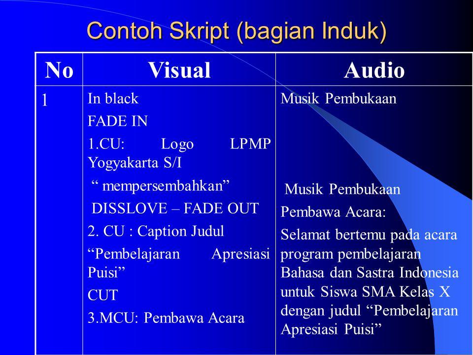 Contoh Skript (bagian Induk) NoVisualAudio 1 In black FADE IN 1.CU: Logo LPMP Yogyakarta S/I mempersembahkan DISSLOVE – FADE OUT 2.